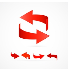Abstract 3d red arrow icons vector