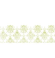 Green textile damask flower horizontal border vector