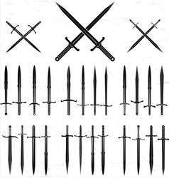 Sword silhouette set vector