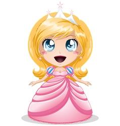 Blond princess in pink dress vector
