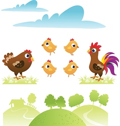 Set of chicken and hen vector