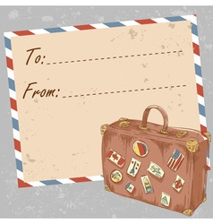 Air mail travel postcard with suitcase vector