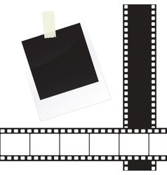 Photo frame sticker with tape and film strip frame vector