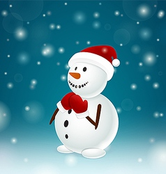 Funny snowman with mittens vector