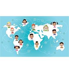 Kids connected worldwide vector