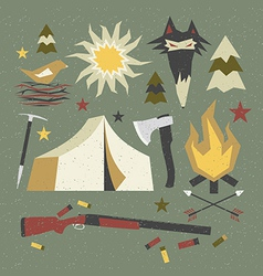 Camping and hiking elements with shabby texture vector