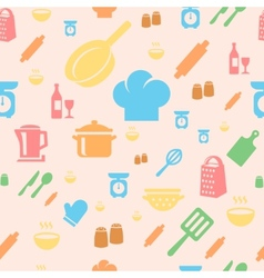 Seamless repetitive pattern with kitchen items in vector