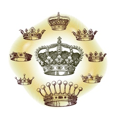 Old crown set vector