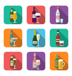 Alcohol bottles and glasses icons set vector