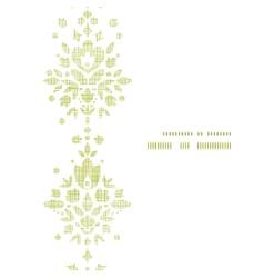 Green textile damask flower vertical frame vector