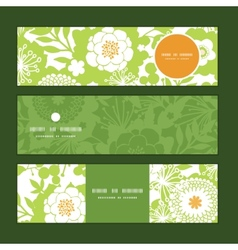 Green and golden garden silhouettes horizontal vector