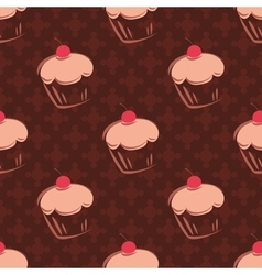 Tile cupcake pattern with brown background vector