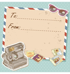 Air mail travel postcard with photo camera vector