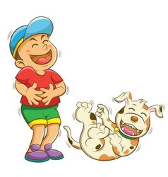 Boy and dog laughing vector