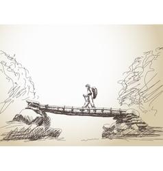 Bridge crossing river with trekking woman vector