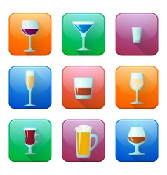 Glossy alcohol glasses icons set vector