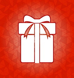 Gift box on red dazzled triangle background vector