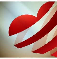 Ribbon red heart with light vector