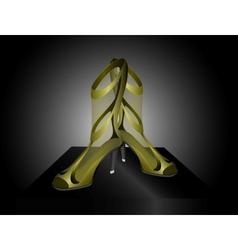 Golden sandals with high heels vector