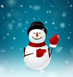 Smiley snowman with mittens vector