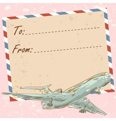 Air mail travel postcard with touristic airplane vector