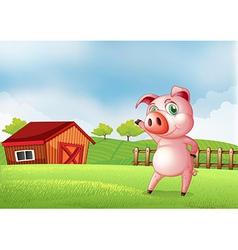 A pig at the farm pointing the barn house vector