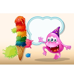 A monster jumping near the giant icecream vector