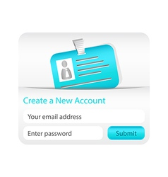 Create a new account form with light blue id card vector