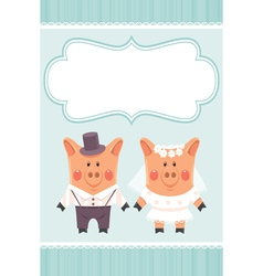 Piggies newlyweds vector