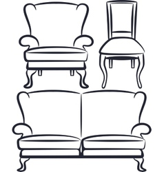 Set of vintage furniture vector