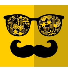 Retro sunglasses with reflection for hipster vector