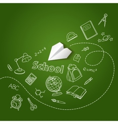 Paper plane and school doodle background vector