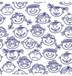 Seamless baby cartoon faces vector