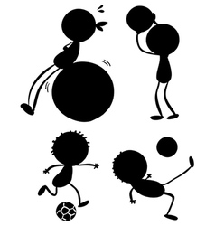 Silhouettes of sporty people vector