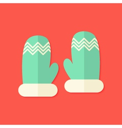 Christmas winter gloves flat icon vector