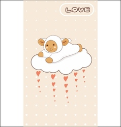 Little lamb flying on a love cloud vector