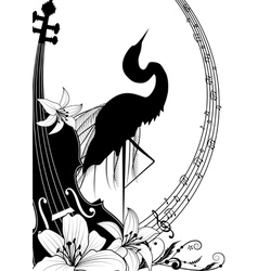 Violin and heron vector