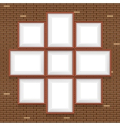Collage of picture frames on the brick wall set vector