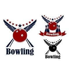 Winged bowling ball and ninepins vector