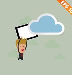 Cartoon business man carry tablet - - eps10 vector