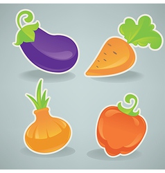 Glossy cartoon vegetables vector