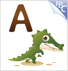 Animal alphabet for the kids a for the alligator vector