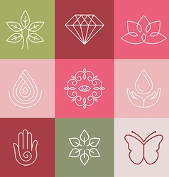 Beauty and spa line logos vector