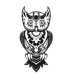 Owl with ornaments in the ethnic style vector