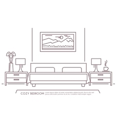 Bedroom furniture outline vector