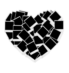 Instant photos in heart shape vector