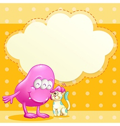 A pink monster and a cat with an empty cloud vector
