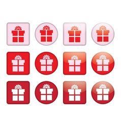 Buttons with present box vector