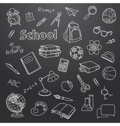 School doodle on a blackboard background vector