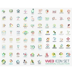 Mega collection of line design web logo icons vector